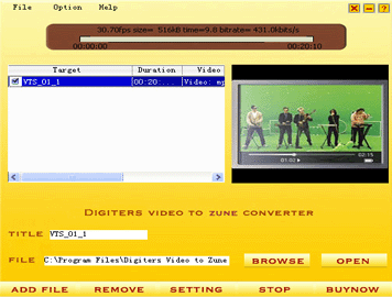 Digiters Video to Zune Converter Screenshot