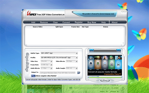 Apex Free 3GP Video Converter Screenshot 1