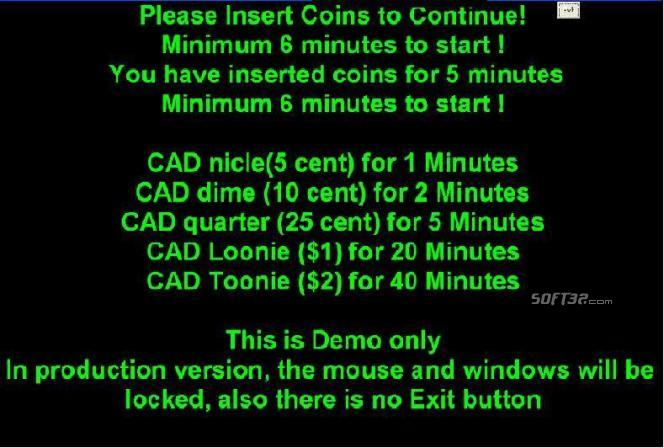 Coin Op Internet Cafe Kiosk Timer Demo Screenshot