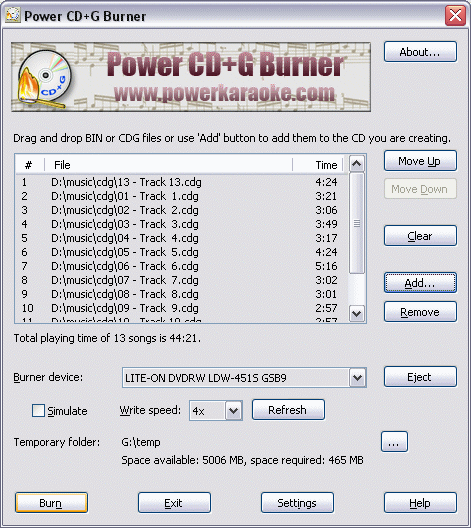 Power CD+G Burner Screenshot 1