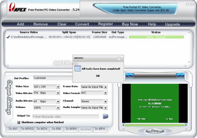Apex Free Pocket PC Video Converter Screenshot 4