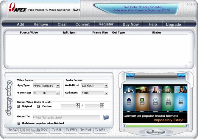 Apex Free Pocket PC Video Converter Screenshot 5
