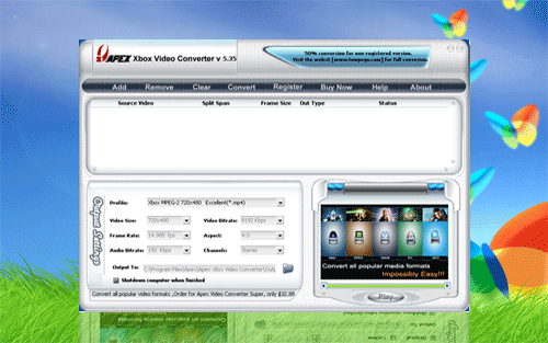 Apex Free xBox Video Converter Screenshot 1