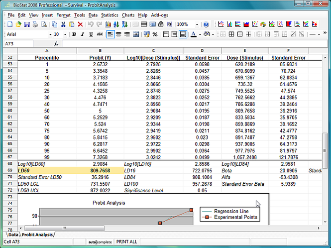 BioStat 2009 Screenshot