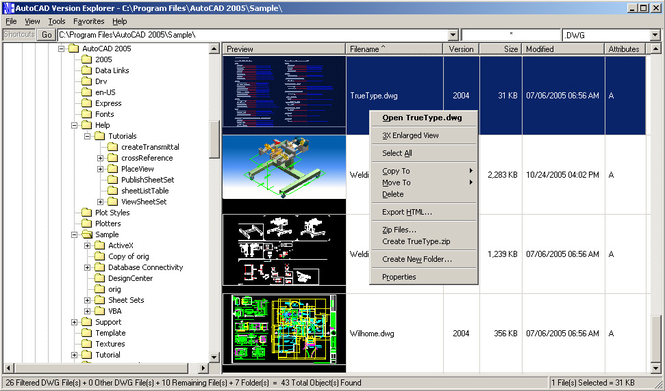 AutoCAD Version Explorer Screenshot