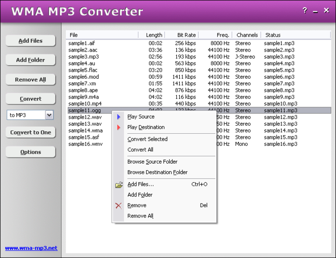 HooTech WMA MP3 Converter Screenshot