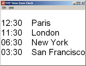 NTP Time Zone Clock Screenshot