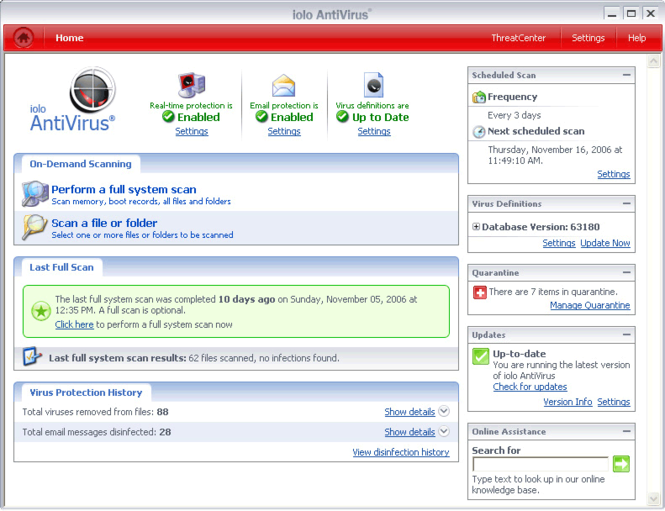 iolo Antivirus Screenshot