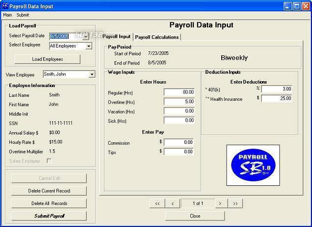 Payroll SB 2009 Screenshot