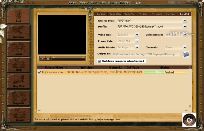 Apex Video Converter Home Edition Screenshot 2