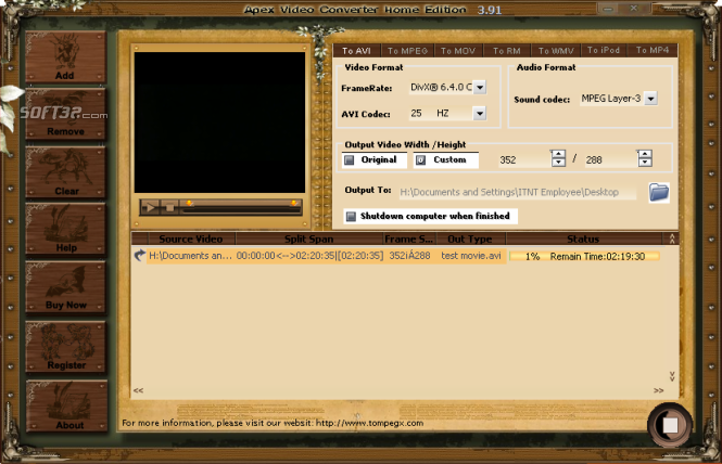 Apex Video Converter Home Edition Screenshot 3
