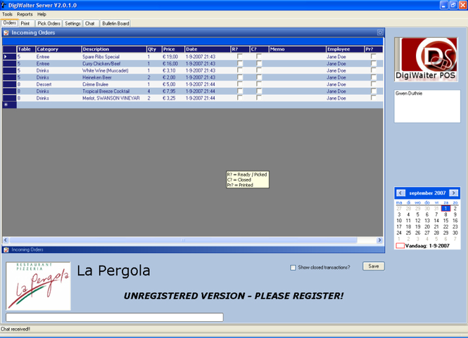 DigiWaiter POS Server Screenshot