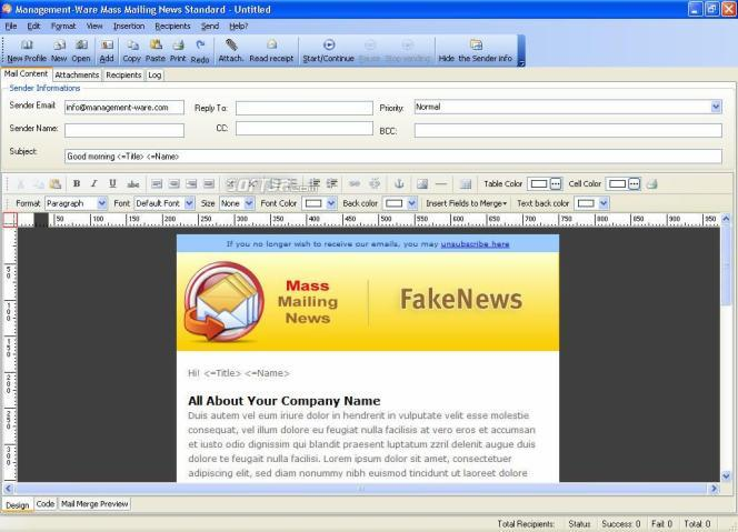 Mass Mailing News Standard Edition Screenshot 2