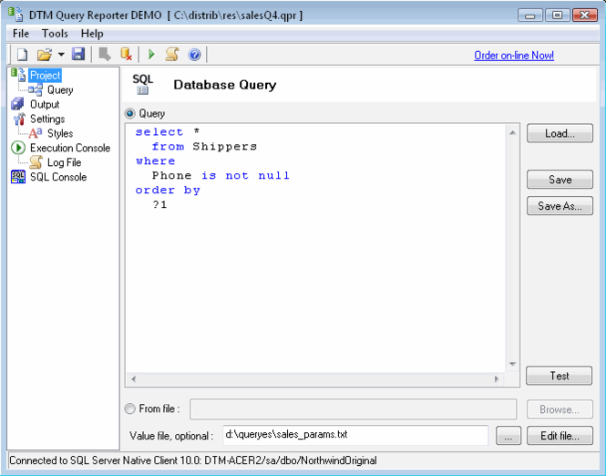 DTM Query Reporter Screenshot 1