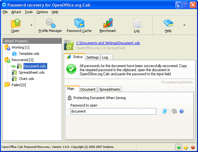 OpenOffice Calc Password Recovery Screenshot