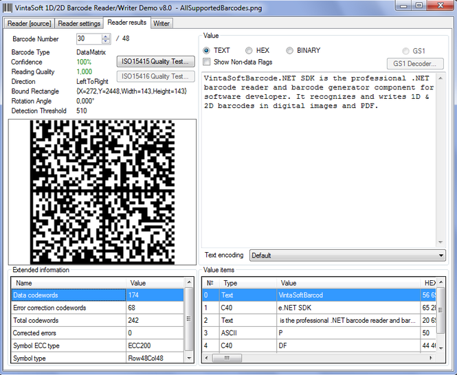 VintaSoftBarcode.NET SDK Screenshot