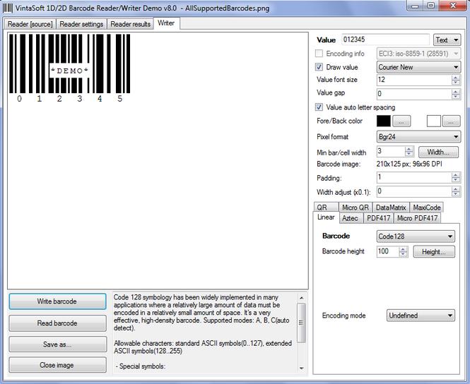 VintaSoftBarcode.NET SDK Screenshot 4