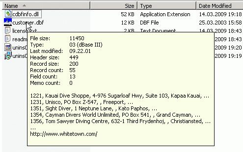 CDBFinfo Screenshot