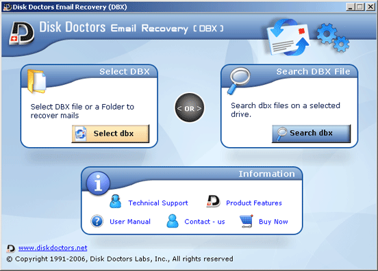 Disk Doctors Email Recovery (DBX) Screenshot 1
