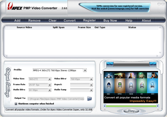 Apex PMP Video Converter Screenshot