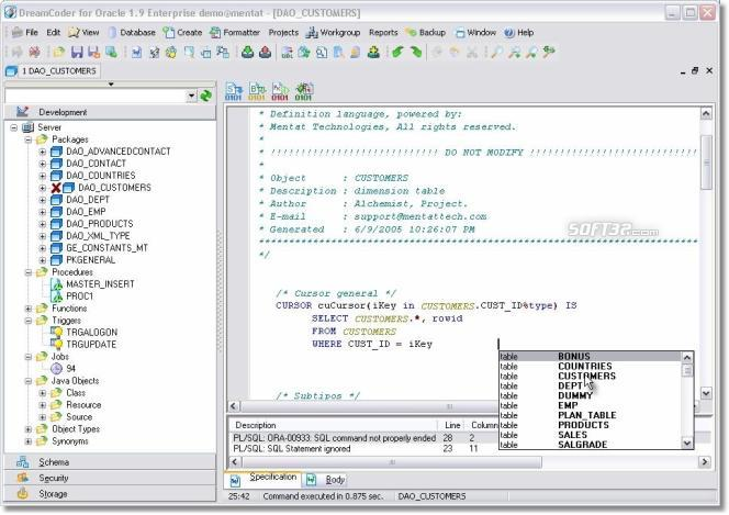 DreamCoder for Oracle Freeware Screenshot 2