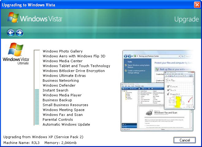Vista Upgrade Prank Screenshot