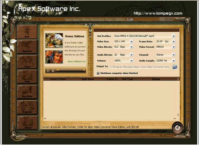 Apex Zune Video Converter Home Edition Screenshot 1
