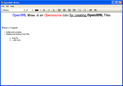 OpenXML Writer Screenshot
