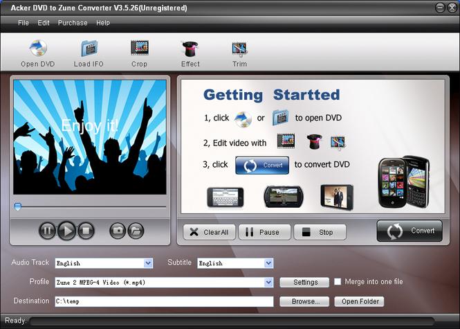 Acker DVD to Zune Converter Screenshot