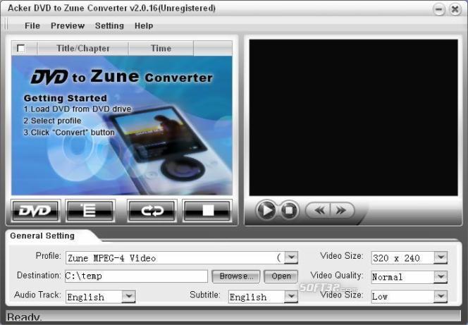 Acker DVD to Zune Converter Screenshot 3