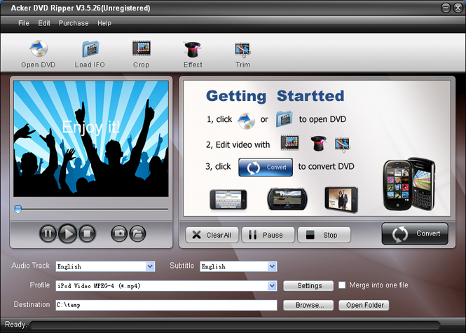 Acker DVD Ripper Screenshot