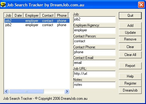 DreamJob.com.au Job Search Tracker Screenshot