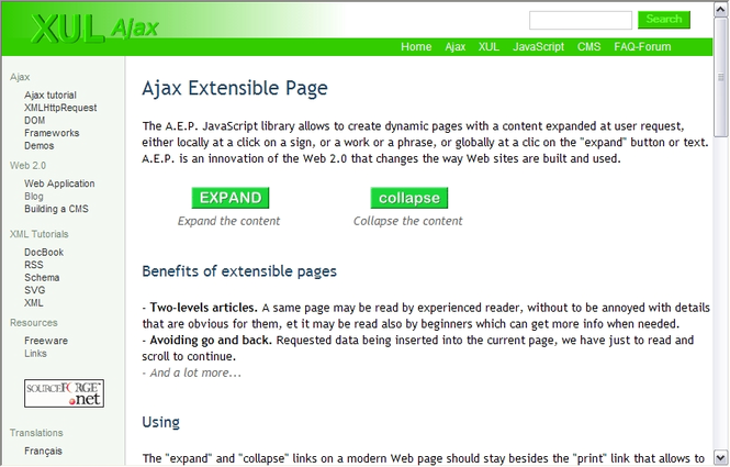 Ajax Extensible Page Screenshot