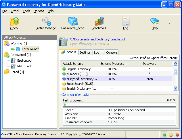 OpenOffice Math Password Recovery Screenshot
