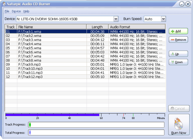 Naturpic Audio CD Burner Screenshot