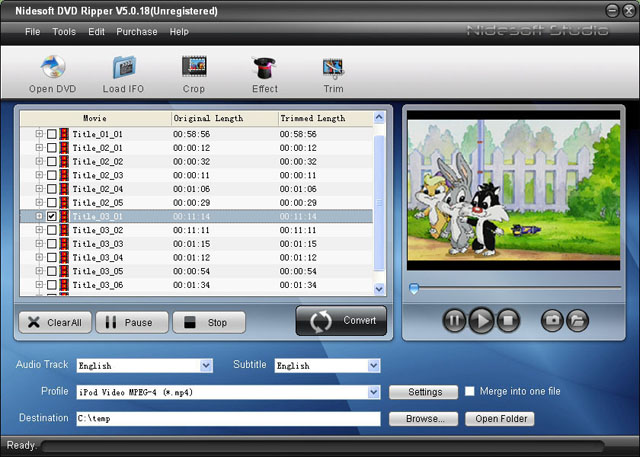 Nidesoft DVD Ripper Screenshot