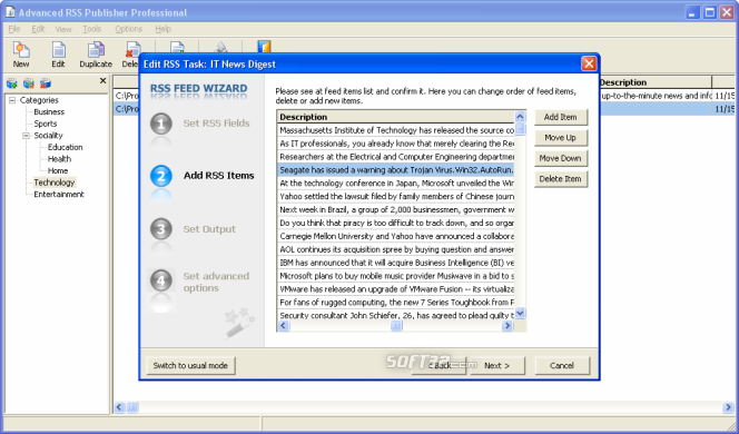 Advanced RSS Publisher Professional Screenshot 4