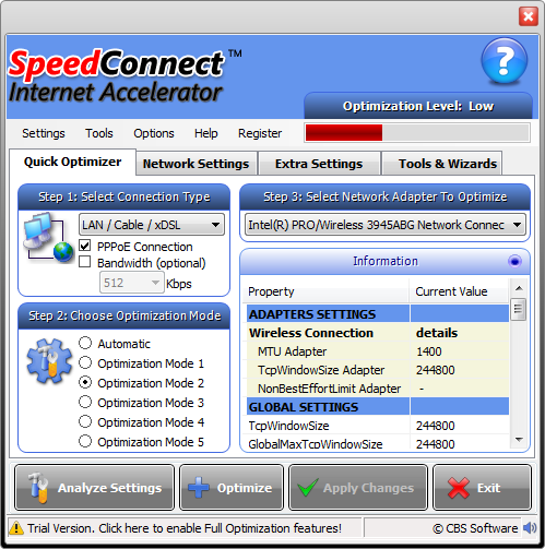 SpeedConnect Internet Accelerator Screenshot