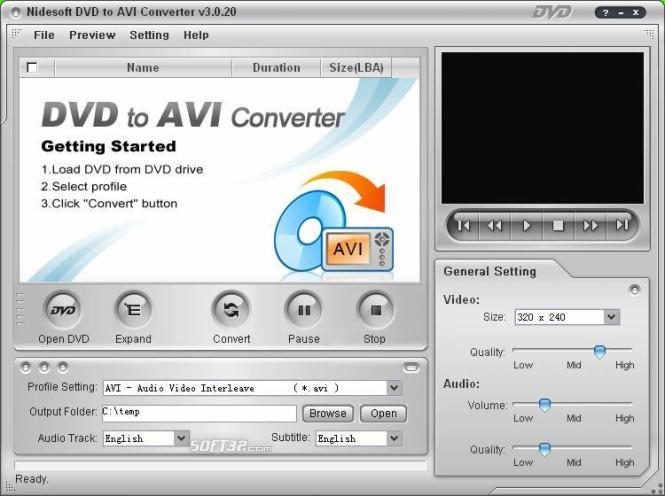 Nidesoft DVD to AVI Converter Screenshot 2