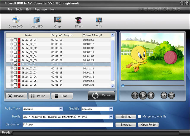 Nidesoft DVD to AVI Converter Screenshot
