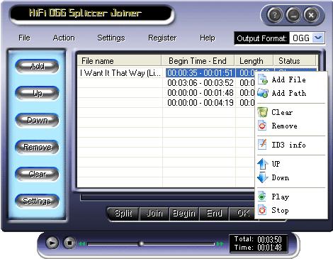 HiFi OGG Splitter Joiner Screenshot 1