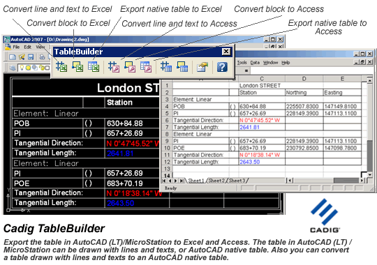 AutoCAD to Excel - TableBuilder Screenshot