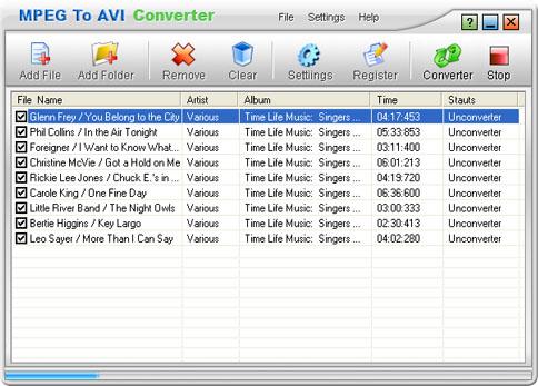 MPEG To AVI Converter Screenshot