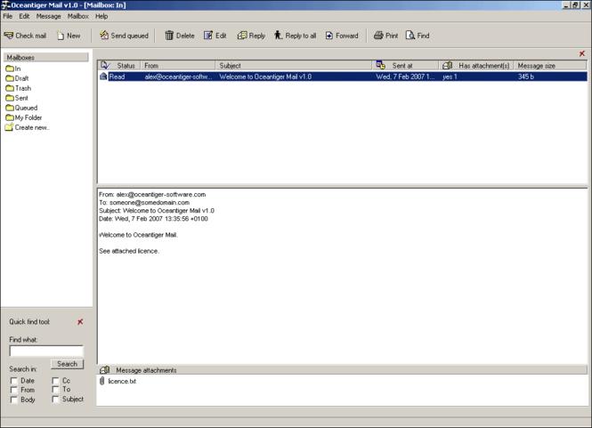 Oceantiger Mail Screenshot 1