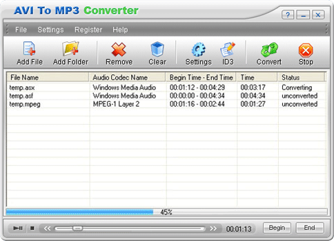 AVI To MP3 Converter Screenshot 1