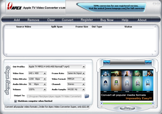 Apex Apple TV Video Converter Screenshot