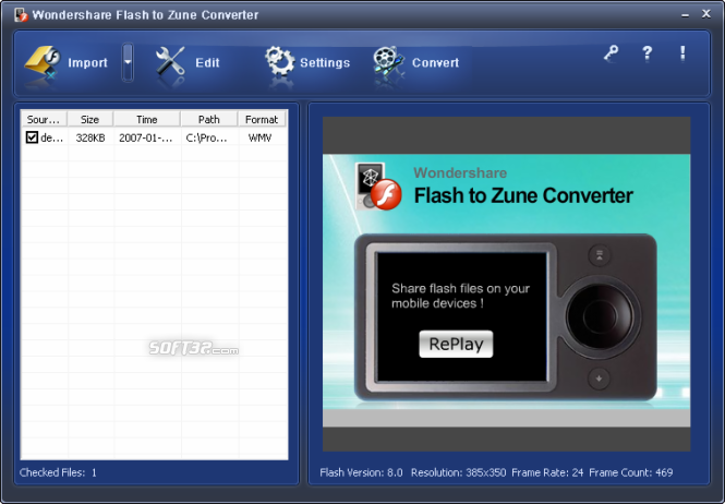 Wondershare Flash to Zune Converter Screenshot