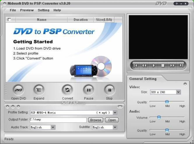 Nidesoft DVD to PSP Converter Screenshot 3