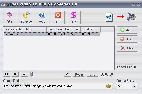 Super Video To Audio Converter Screenshot
