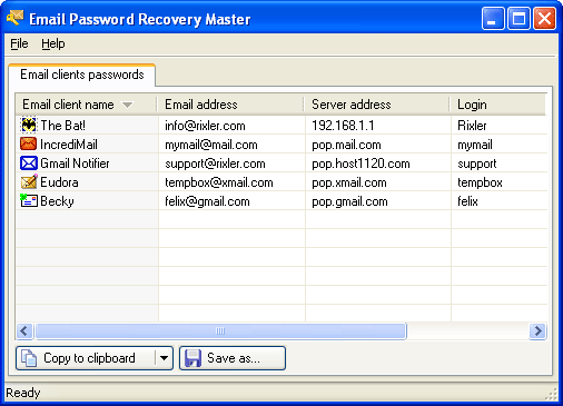 Email Password Recovery Master Screenshot